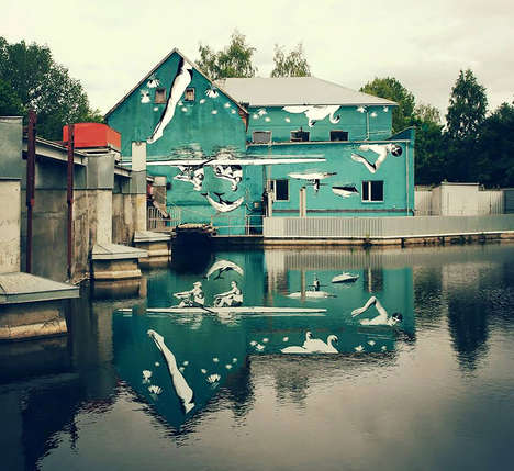 Water-Reflecting Murals - Ray Bartkus Painted this Mural Upside Down Using the Water as a Mirror