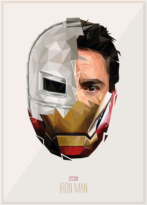 Geometric Superhero Portraits - This Artists Uses Distinct Shapes to Create Portraits of Superheroes