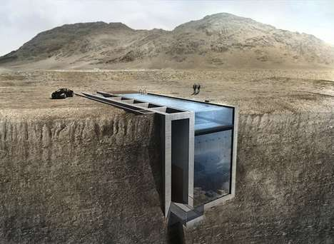 Subterranean Cliff Houses - Open Platform for Architecture's Casa Brutale is a Striking Glass Home
