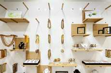Pegboard Jewelry Displays - Amber Dream's Jewelry Store Displays Include Wall Pegs and Mock Trees