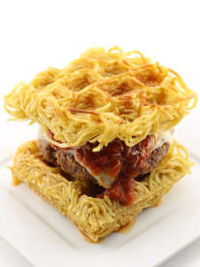 Waffled Spaghetti Sandwiches - The Inventive Burger is Made with Creative Noodle Burger Buns