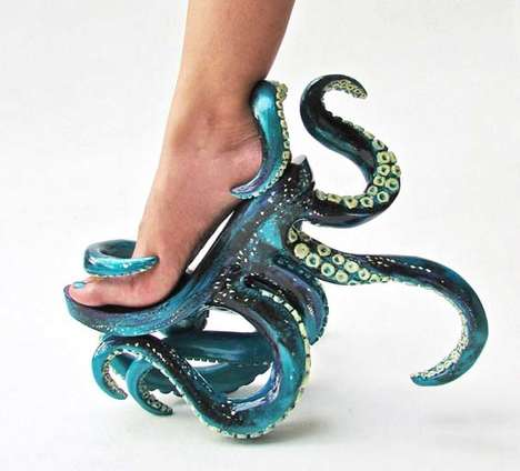 Octopus-Inspired Stilettos - These Unusual High Heels Feature Intricate Octopus Tentacles