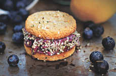 Blueberry Dessert Sandwiches - Almond Blueberry Soft-Serve Sandwiches are the Go-To Summer Snack