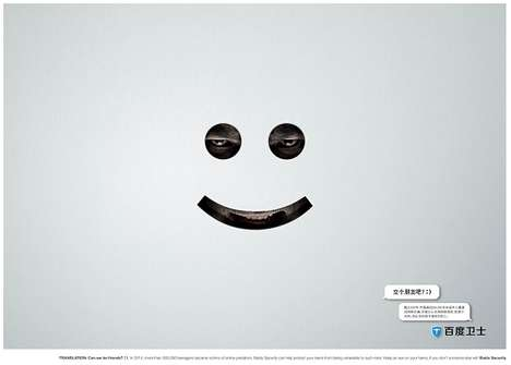 Predatory Emoticon Ads - These Internet Safety Ads Show Haunting Faces Behind Smiley Emoticons