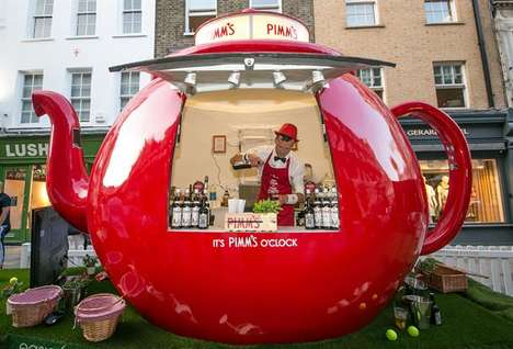 Branded Experiential Pop-Up Bars - This Fun Pimm's Pop-up Teapot Bar Was at Wimbledon 2015