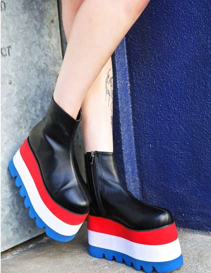 Elevated Americana Platforms - The Current Mood 'Neglect Boots' Feature All-American Style