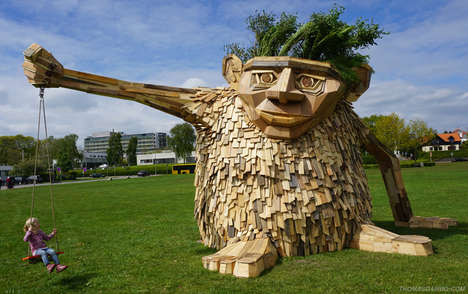 Trollish Wood Sculptures - Thomas Dambo Creates a Whimsical Monster in Horsens, Denmark