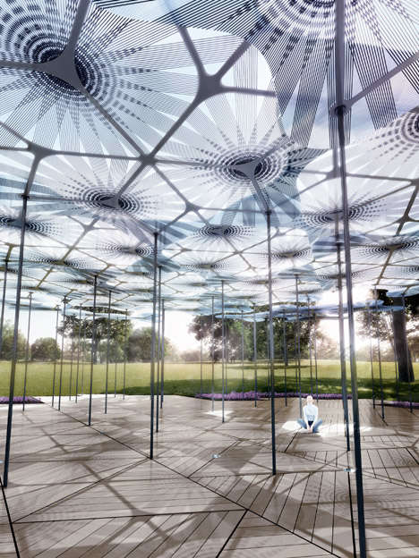 Carbon Fiber Petal Pavilions - This Pavillion Features a Paper-Thin Canopy, Speakers & LED Lights