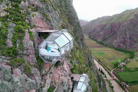 Transparent Mountainside Pods - These Peruvian Hotel Pods are Attached to the Side of a Rocky Cliff