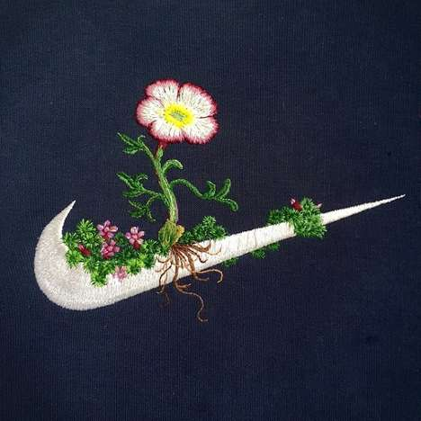 Embroidered Sports Logos - These Iconic Brand Logos are Adorned with Hand-Stitched Flowers