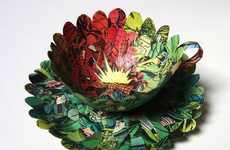 Literature-Made Tea Cups - Artist Cecilia Levy Creates Delicate Vessels Out of Comic Books and More