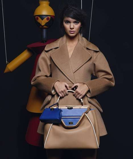Marionette Fashion Campaigns - The Kendall Jenner Fendi Ads is Dark and Moody Yet Subtly Playful
