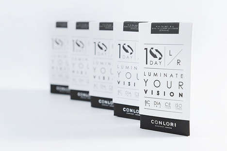 Eye Exam-Packaged Contacts - These Contact Lenses are Packaged in Black & White Optotype Boxes