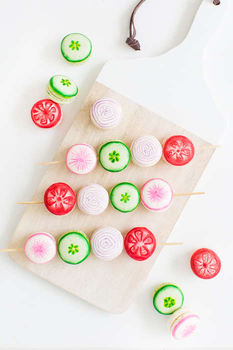 Veggie Kabob Macarons - These Veggie Desserts Looks like Real Tomatos with the Use of Edible Markers