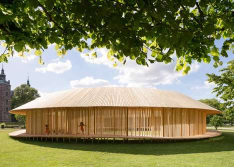 Spherical Wooden Pavilions - The Around Pavilion by Christiansen & Andersen is Built in Copenhagen