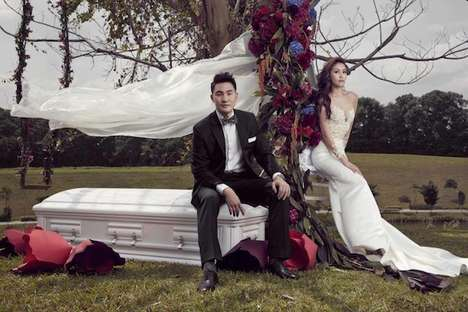Undertaker Wedding Portraits - This Couple's Matrimonial Photos Reveal an Odd Funeral-Themed Wedding