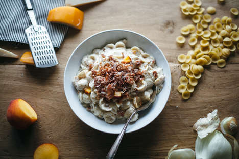 Peach-Infused Macaroni - This Hearty Mac and Cheese Recipe Features Fresh Peaches and Prosciutto