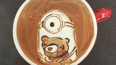 Alien Latte Art - These Clever Latte Designs are Inspired by the New Minions Movie