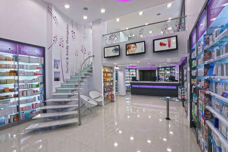 Futuristic Pharmacy Interiors - The Lydaki Nitsa Pharmacy Design is Situated in a Modern Loft