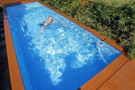 Waste Container Swimming Pools - The 'Pool Box' is Housed Inside of an Old Dumpster