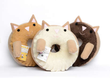 Donut Cat Toys - These Plush Pet Pillows are a Combination Between Pastry and Feline Friend