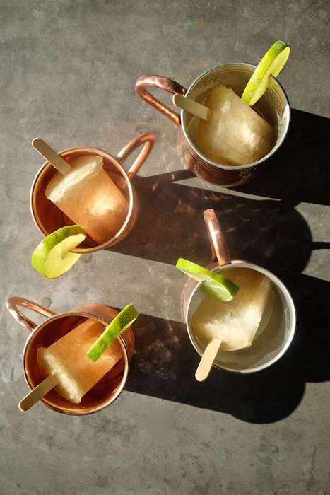 Gingery Cocktail Popsicles - These Moscow Mule Drink Ice Pops are Refreshingly Alcoholic