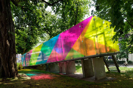 Translucent Rainbow Pavilions - This Fully Enclosed Rectangular Pavilion Sits on a Slight Incline