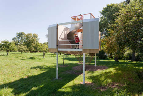 Multi-Level Tree Houses - This Play Place Offers Everything from a Homework Desk to a Slide Exit
