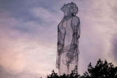 Mesh Mannequin Sculptures - This Artist Places Massive Human Mesh Sculptures in Ordinary Settings