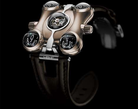 Celebratory Sci-Fi Watches - The Latest MB&F HM6 Space Pirate Watch is Gilded in Red Gold