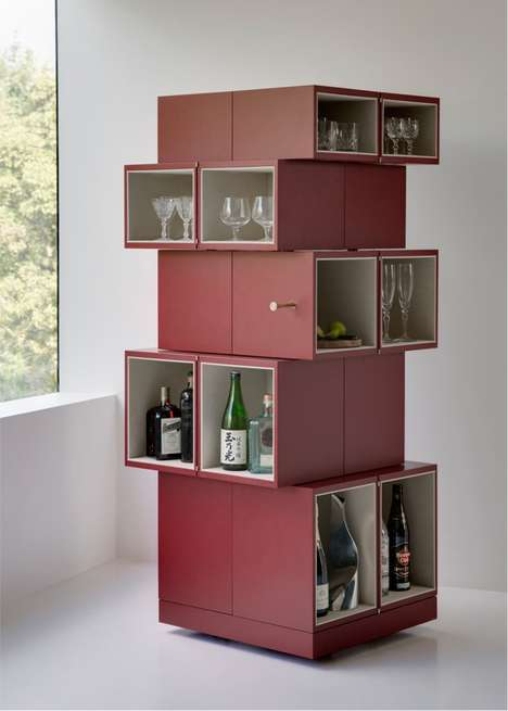 Hidden Compartment Cabinets - The Cubrick Rectangluar Cabinet has Square Cubbies That Twist Open
