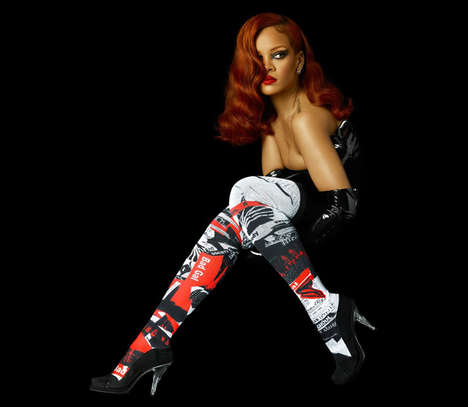 Eerie Starlet Socks - The 'Murder Rih Wrote' Socks by Rihanna Features a Horror Film Theme