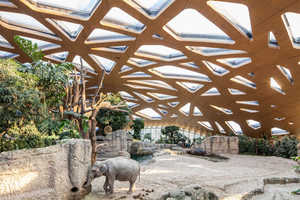 This Elephant House Features a Wooden Roof and Swimming Pools