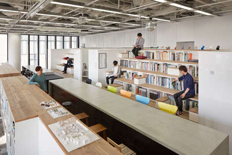 Bleacher-Themed Bookcases - These Bookshelf Staircases are Found in Nikken Sekkei's Office Interior