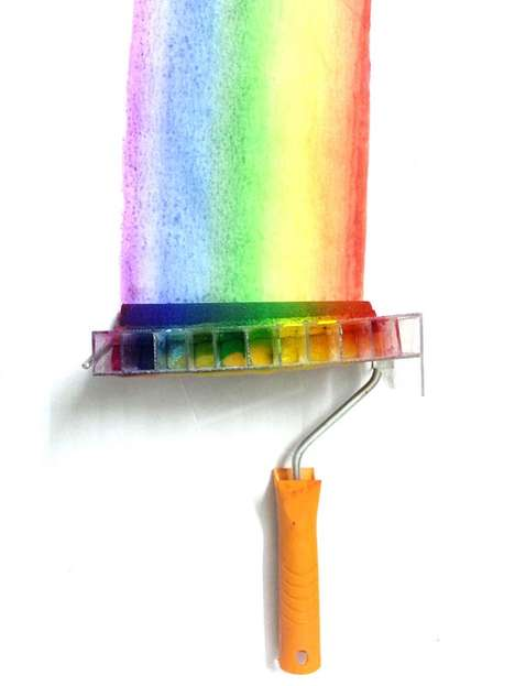 DIY Rainbow Paint Rollers - This Hybrid Roller Uses 10 Different Colors to Paint Beautiful Rainbows