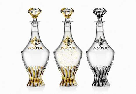 Crystal Vodka Bottles - Kors Vodka Created a Bank-Breaking Set of Crystal and Gold Bottles