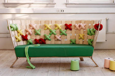Colorful Cross-Stitched Furniture - This Modern Furniture Set Features Fun Cross-Stitch Patterns