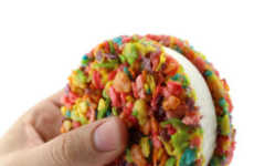 Creamy Cereal Sandwiches - These Fruity Pebbles Homemade Cookies are Used in Ice Cream Sandwiches