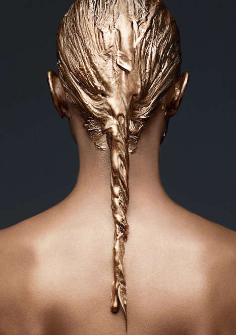 Painted Hair Editorials - Crista Cober Pulls off Gilded Tresses for Beauty Papers Magazine