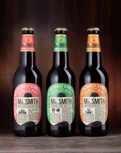 Newspaper Beer Labels - This Line of Mr. Smith Beers are Labeled with Mysterious Newspaper Articles
