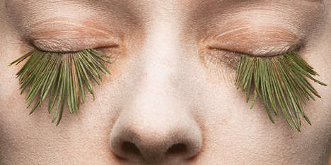 Grass Eyelashes - These False Eyelashes by Mary Graham are Made of Blades of Grass and Pine Needles