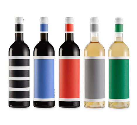 Color-Blocked Bottle Branding - Djurdjic Winery's Brand Identity Embraces Simplistic Elements