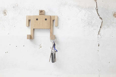Multifunctional Wooden Robots - These Decorative Robots Perform a Variety of Useful Tasks
