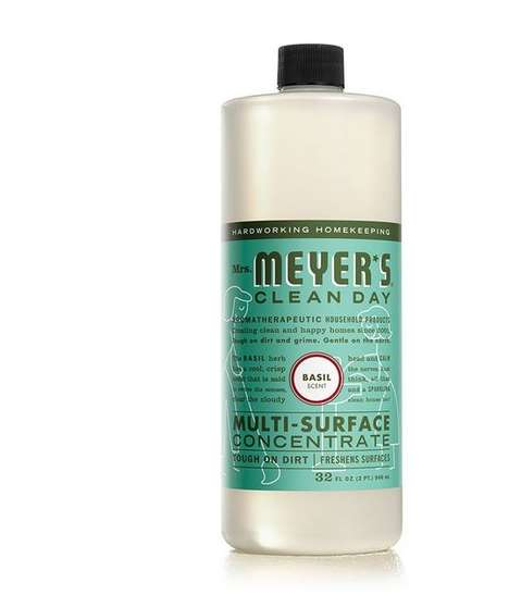 Herb-Infused Concentrated Cleaners - Mrs Meyer's Basil Multi-Surface Concentrate is Earth-Friendly