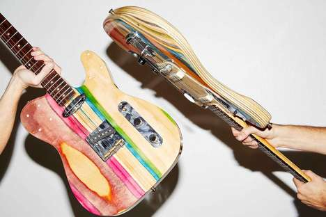 Upcycled Skateboard Guitars - These Handcrafted Guitars are Made from Used Wooden Skateboard Decks