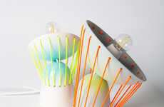 Mobile Elastic Lampshades - These Elastic Moving Lights Combine Easy Motion and Sleek Ceramics