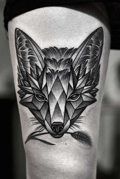 Elegant Grayscale Tattoos - These Monochromatic Tattoos Feature Detailed Geometric Designs