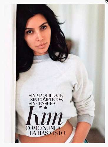 Makeup-Free Cover Shoots - The Kim Kardashian Vogue Spain Editorial Goes Au Naturale