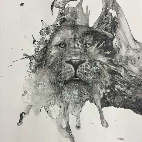 Monochromatic Ink Illustrations - These Ink Blot Paintings Appear Almost Lifelike