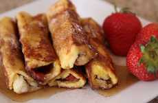 Hybrid Breakfast Recipes - These French Toast Roll-Ups Contain Crepe Ingredients and Burrito Syle